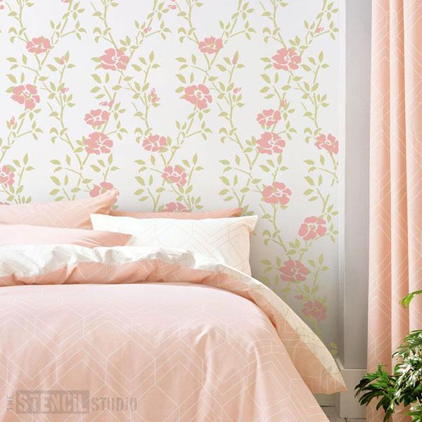 Leaf Trellis Repeat & Roses Pattern